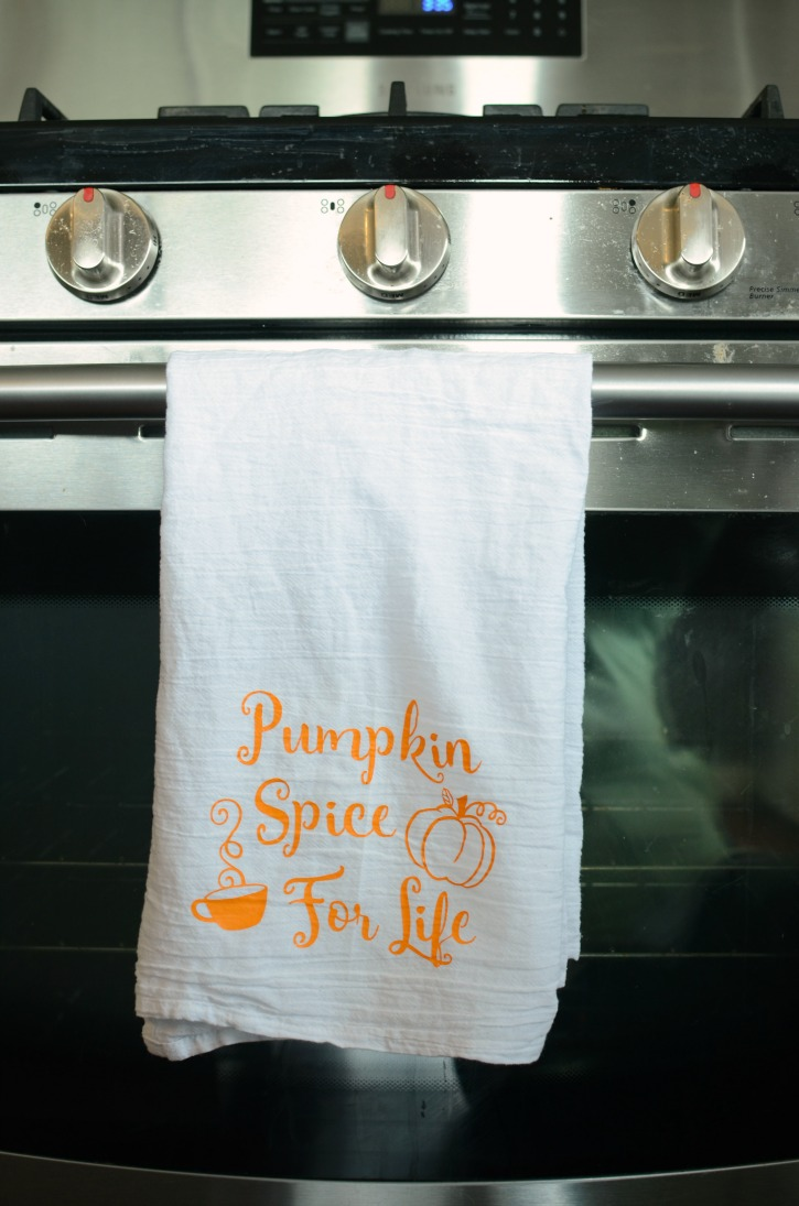 Pumpkin Spice For Life Kitchen Towel with Heat Transfer Vinyl