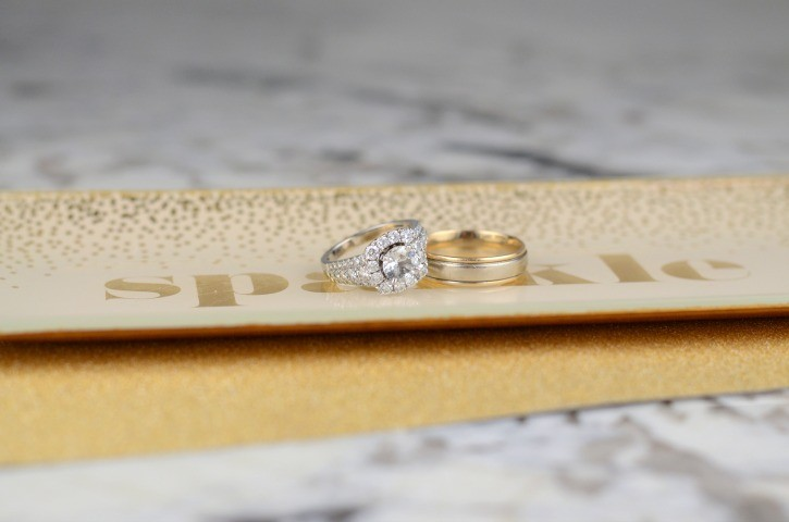 Halo Wedding RIng And Menu0027s Band From Shane Co