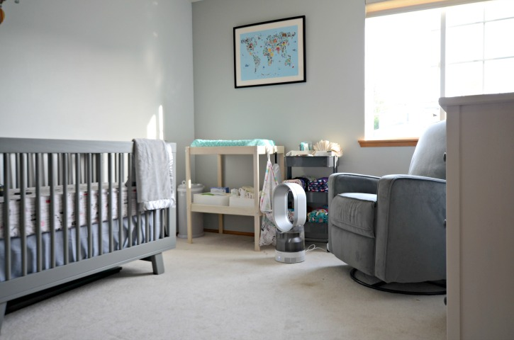 Gender Neutral Travel Themed Nursery with Dyson Humidifier
