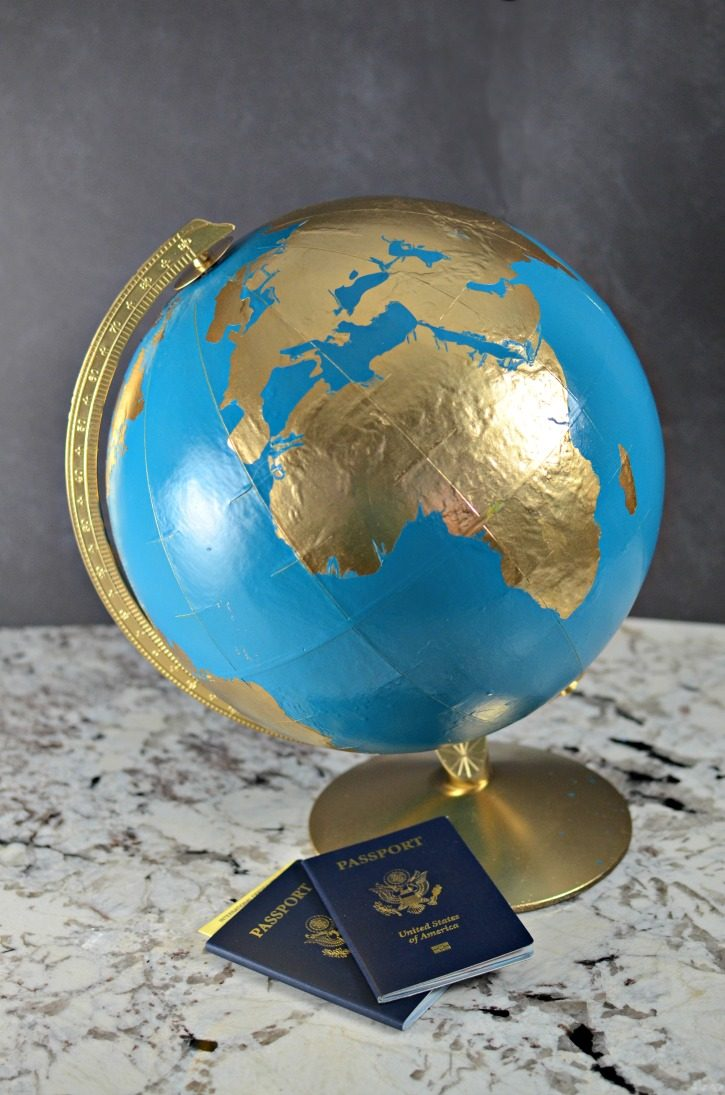 Upcycled Painted Globe - Adventure Awaits
