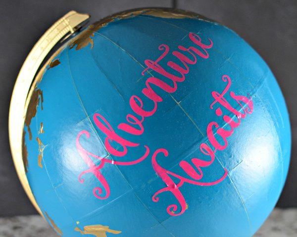 Upcycled Painted Globe – Adventure Awaits