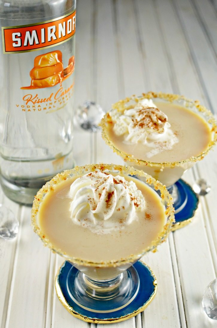 Caramel Creme Brulee Martini featuring Smirnoff Kissed Caramel Vodka