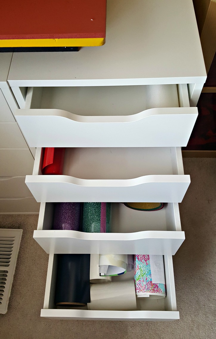 Heat Transfer Vinyl Stored in IKEA Alex Drawers