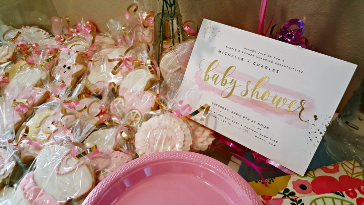 Pink and Gold Baby Shower Invitation and Cookies