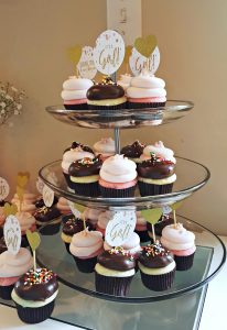 Pink and Gold Coed Baby Shower Pinkabella Miniature Cupcakes