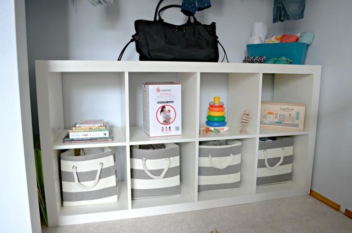 An Organized Grey & White Nursery Closet