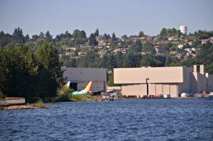 Boeing plant in Renton from Lake Washington