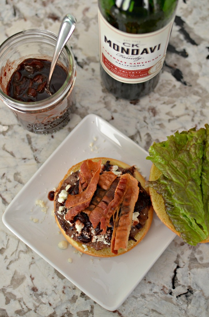 Burger with Red Wine & Date compote, bacon, and feta cheese