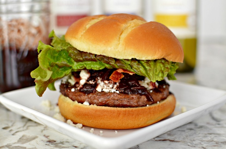 Red Wine & Date Compote with Feta & Bacon Burger