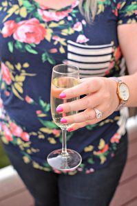 Woman with glass of prosecco
