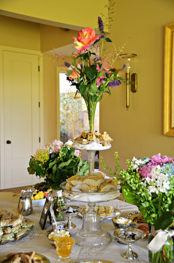 epergne at garden tea party bridal shower