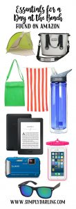 Essentials for a day at the beach found on amazon