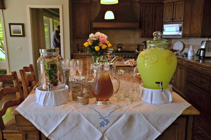 garden tea party bridal shower beverage bar
