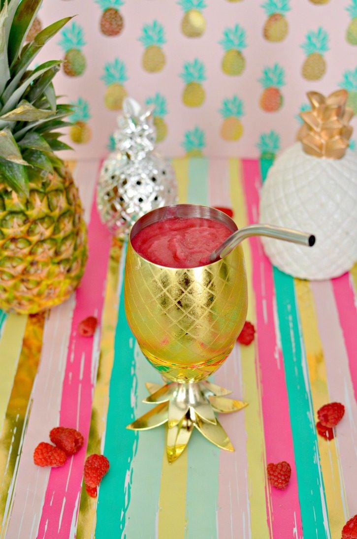 Raspberry & Pineapple Slushie Cocktail Recipe