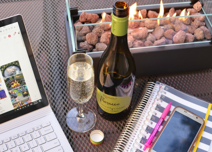 Outside Firepit with Prosecco and Notebooks