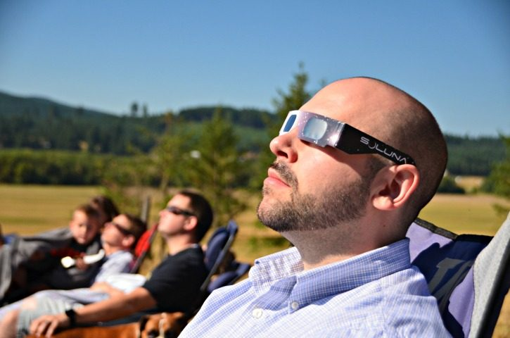 Man wearing solar glasses