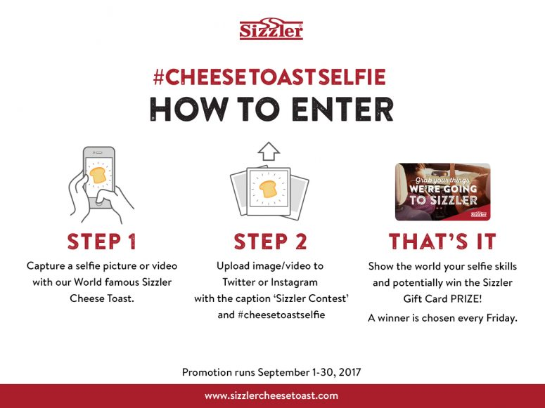 Sizzler Cheese Toast Selfie Contest