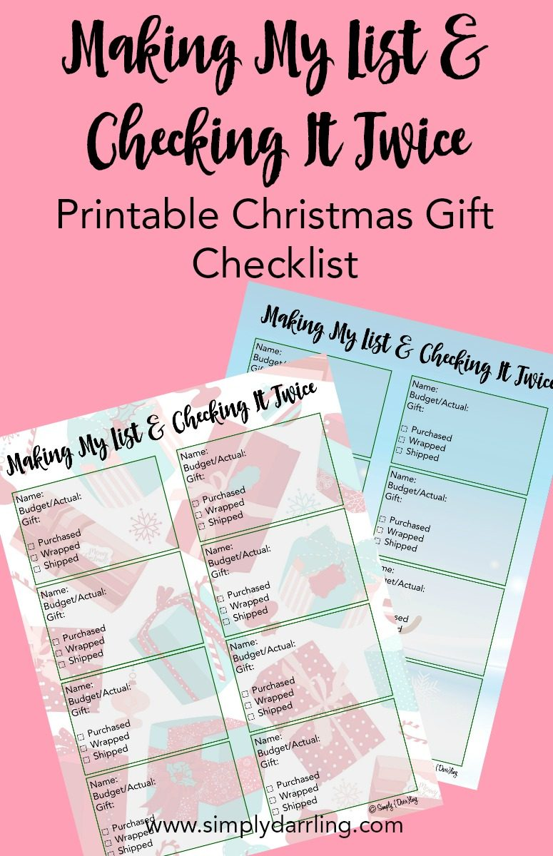 Christmas Gift Checklist - Free Printable