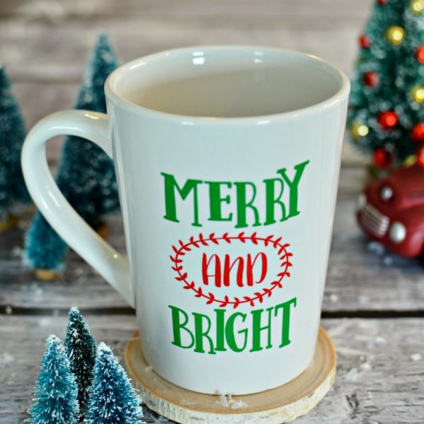 Merry & Bright Coffee Mug & Wine Glass – Free Cut File