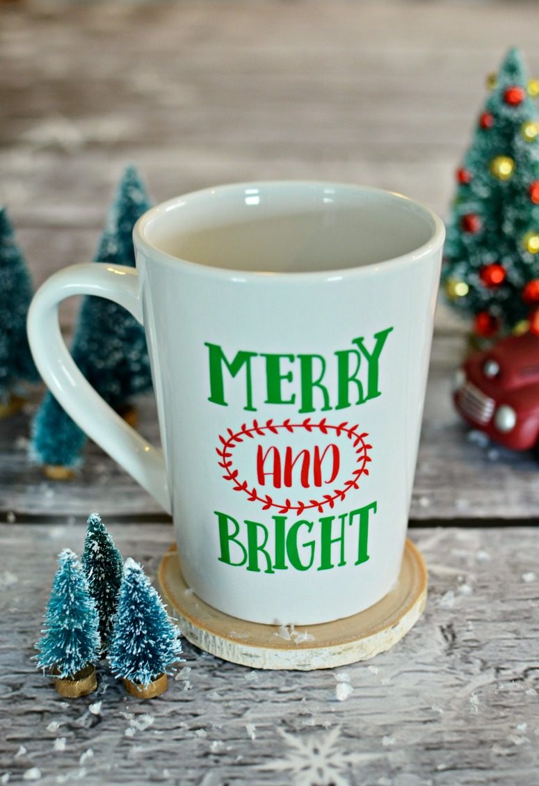Merry and Bright Christmas Mug with Free Cut File