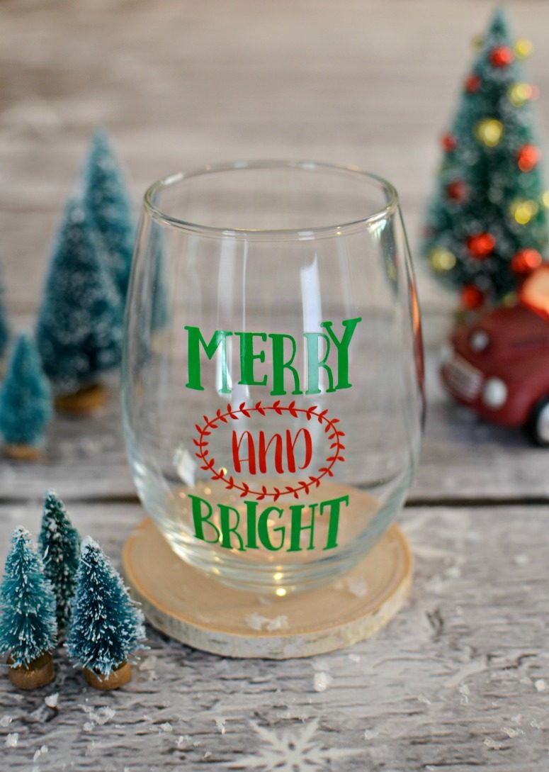 Merry And Bright Wine Glass With Free Cut File