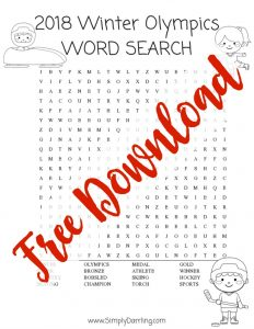 Winter Olympics Activities For Kids – Word Search