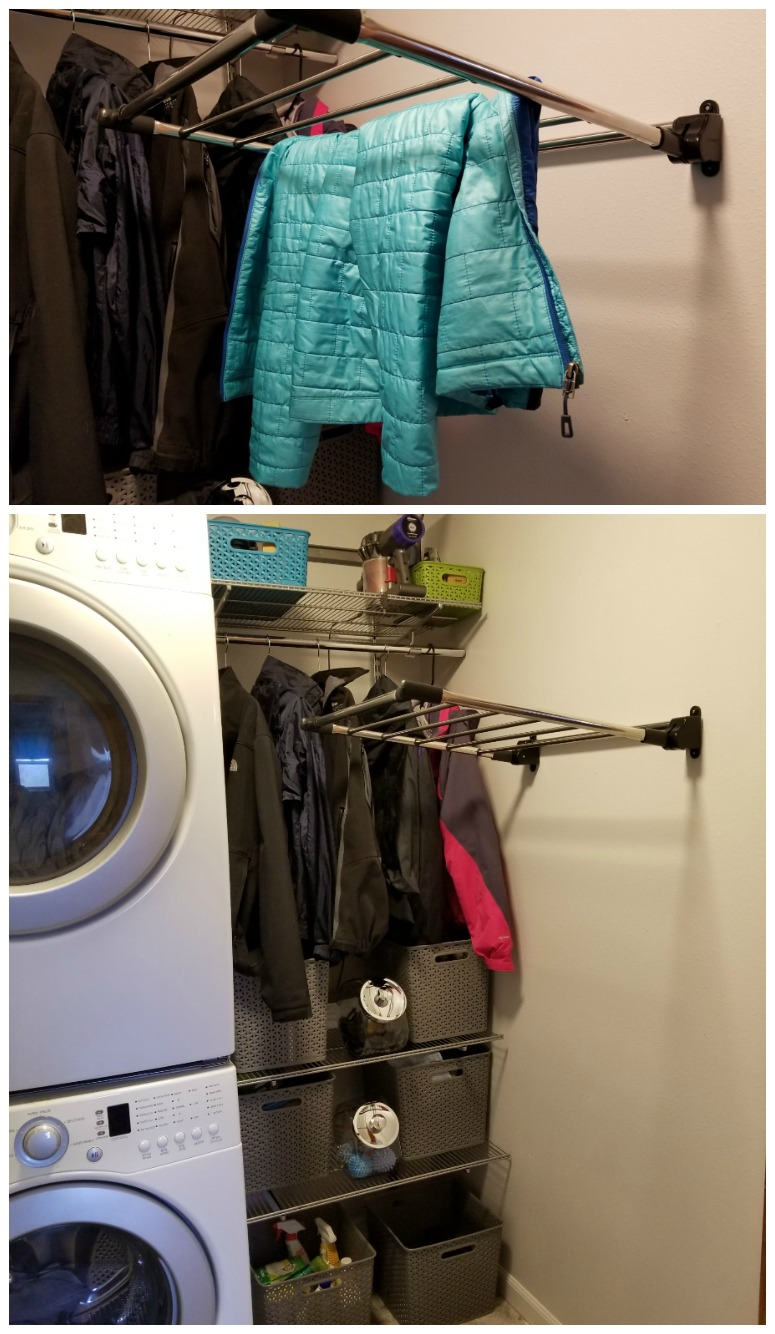 Hanging Drying Rack in Small Laundry Room