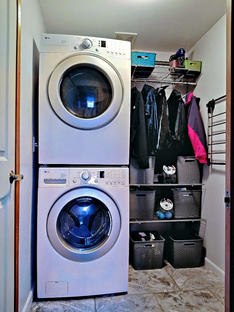 Stacked Washer and Dryer in Small Laundry Room