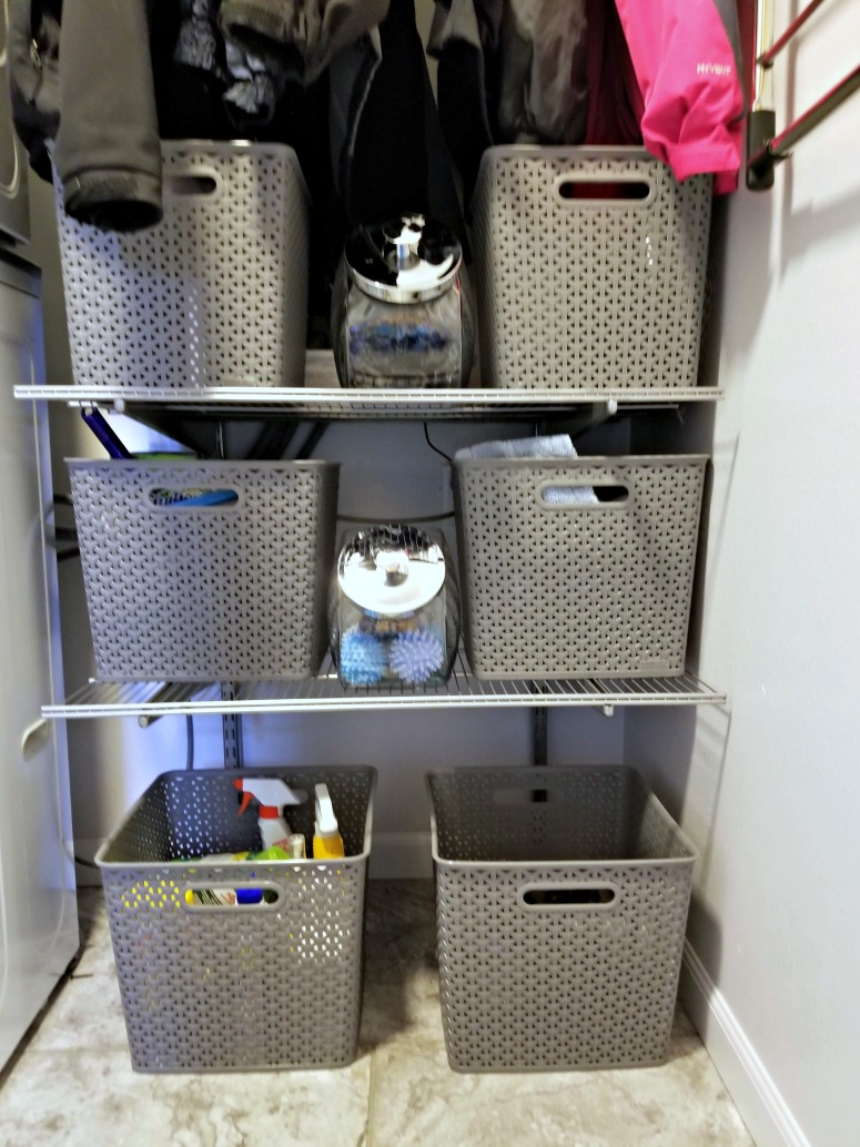 Wire Shelves and Baskets in a Small Laundry Room