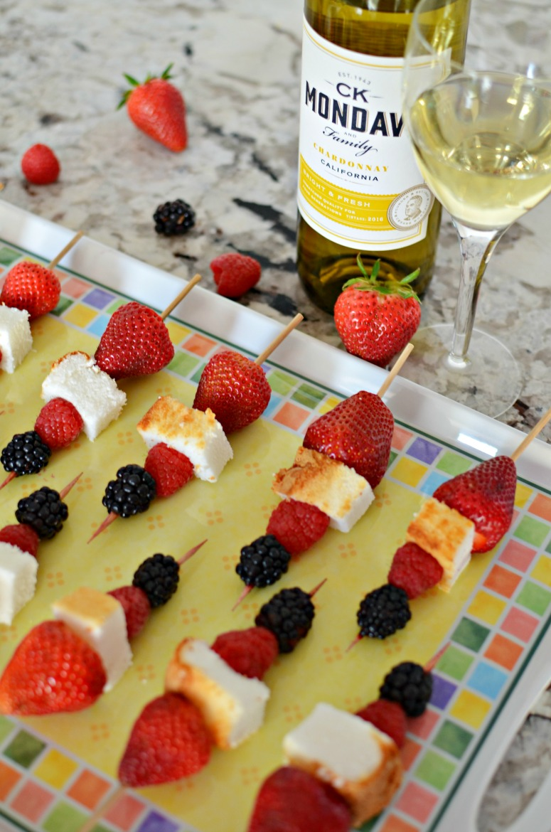 Berry and Angel Food Dessert Kebabs with CK Mondavi