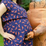 Maternity Photo Shoot with T-REX Costume