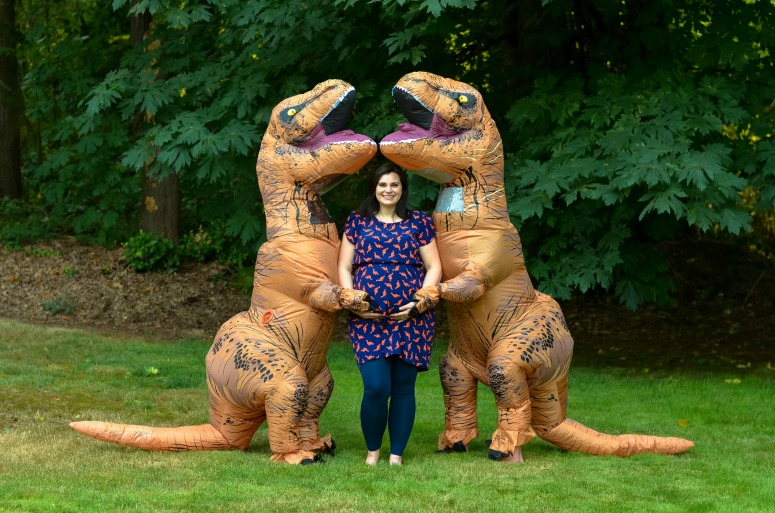 Maternity Photoshoot using Blow-up T-REX Costume