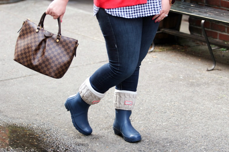 Short Blue Hunter Rain Boots with Red Cardigan and Blue Gingham Top