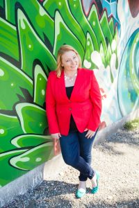 Business Casual Outfit with Red Statement Blazer