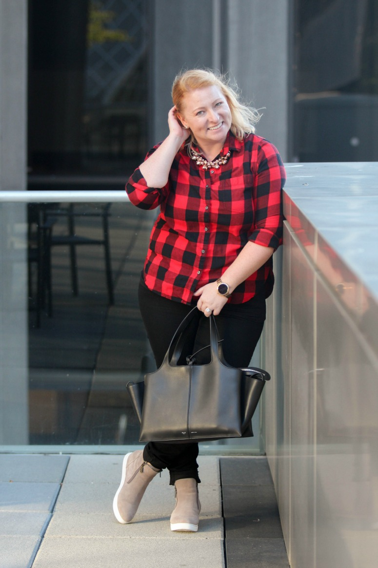 Fall Flannel Buffalo Plaid with Black Jeans