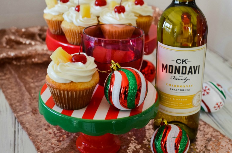 Pineapple Upside Down Inspired Cupcake with CK Mondavi Chardonnay