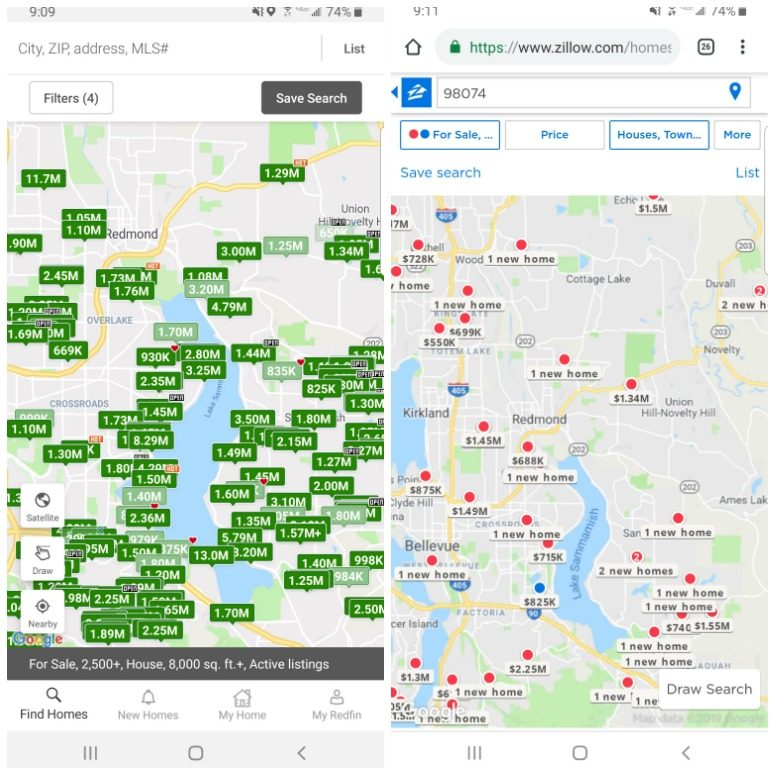 Redfin and Zillow Home Search