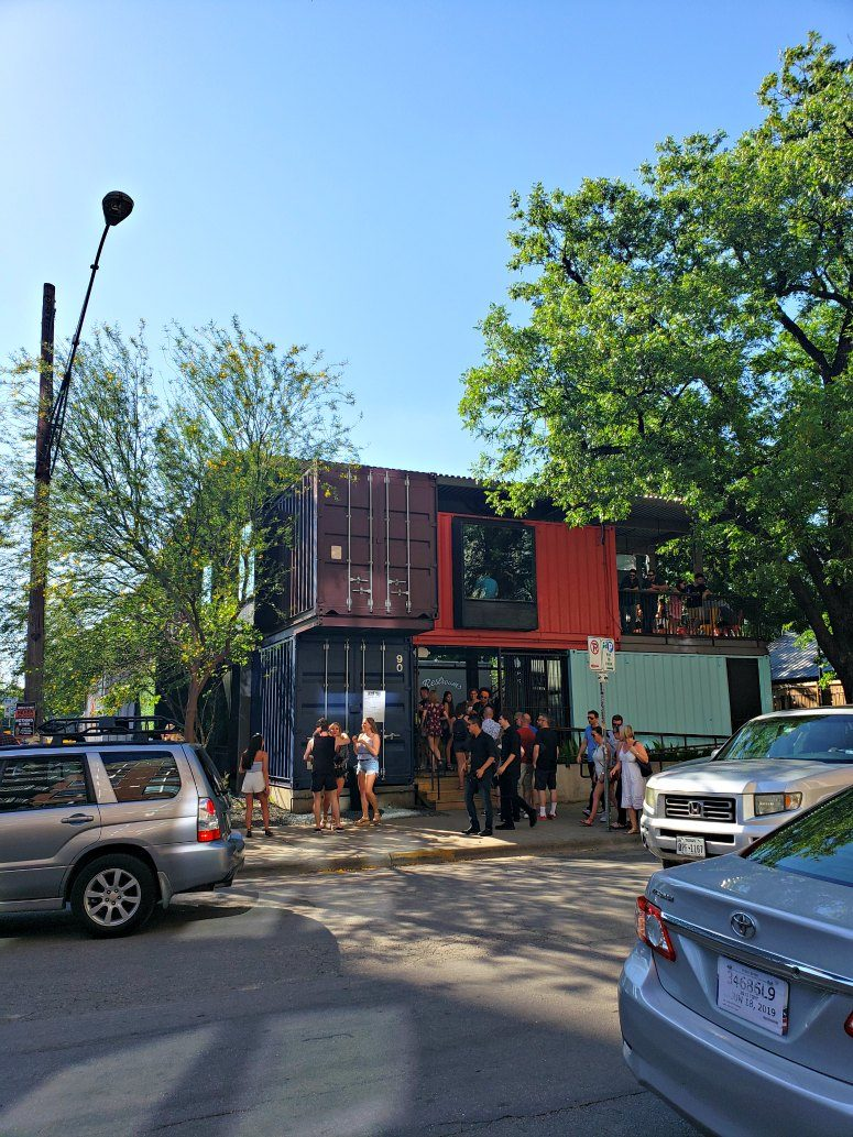 Shipping container bar on Rainey Street - Austin, Texas