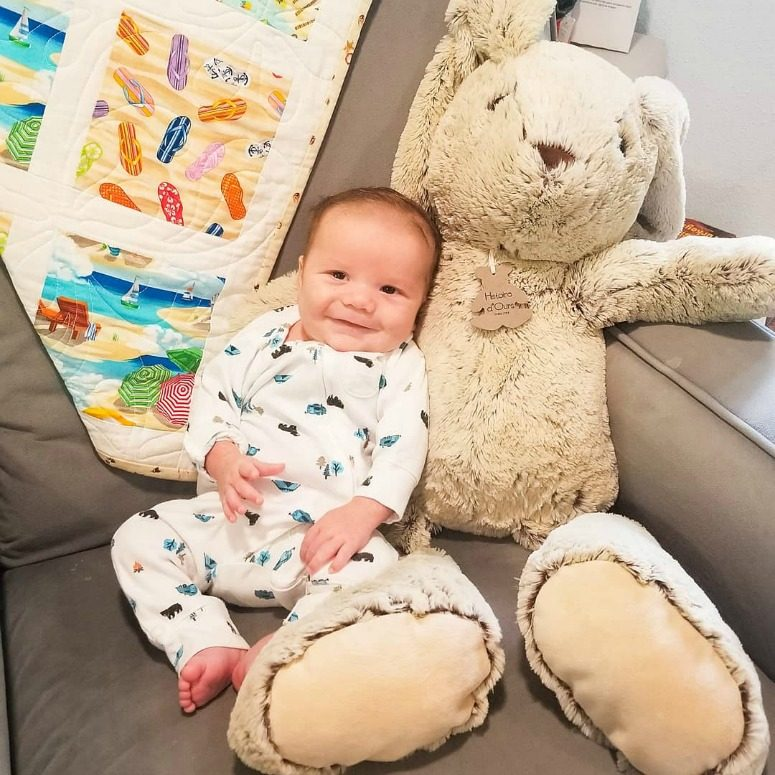 Baby with stuffed Bunny