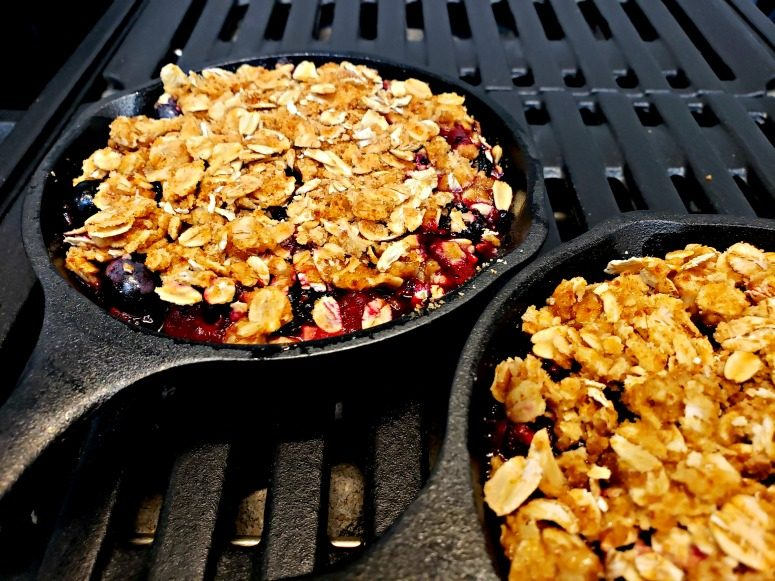 Personal Sized Berry Crisp on Grill