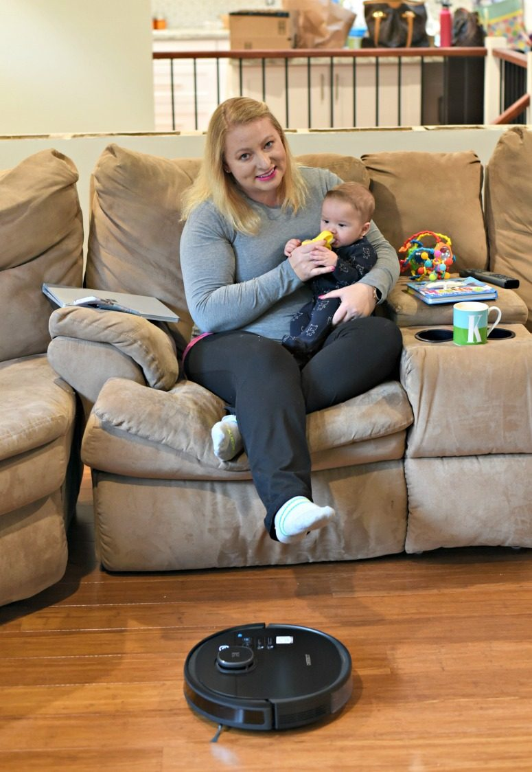 Woman with Baby and DEEBOT OZMO 950