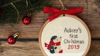 Hedgehog Baby's First Christmas Ornament, Custom Embroidery Tree Ornament, Personalised Name Embroidery Hoop, Gift for Baby, Baby Boy Girl