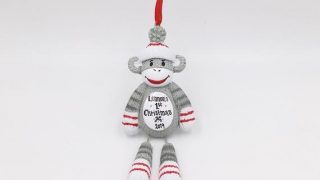 Sock Monkey Personalized Christmas Ornament / Baby's First Christmas Ornament / New Baby Ornament / Gift for kids