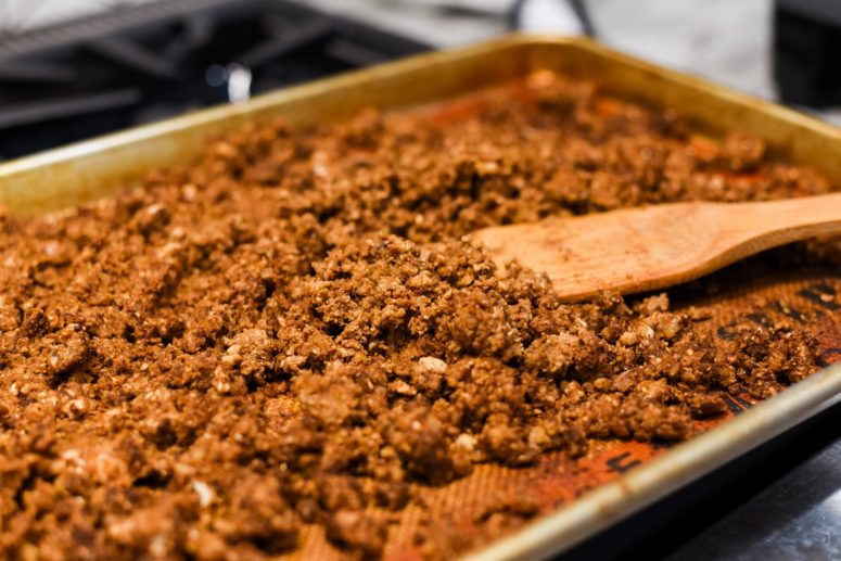 "Ground Cauliflower ""meat"" from the oven"