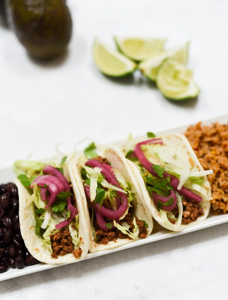 Ground Cauliflower Tacos with Rice and Beans