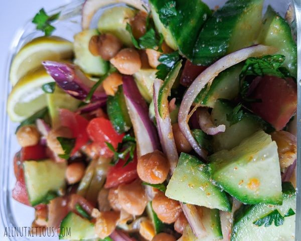Chickpea Salad with Cucumbers and Tomatoes