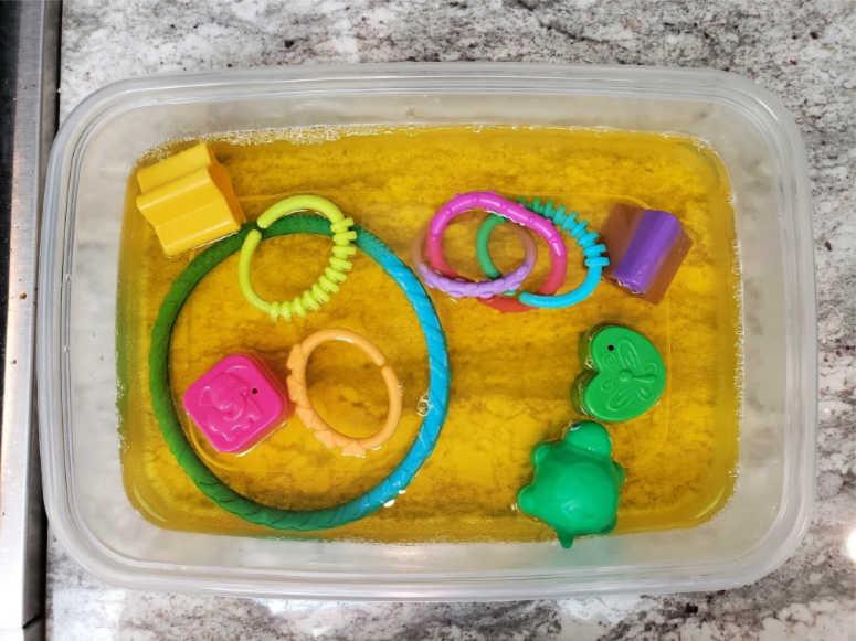 Toys in Gelatin - Baby Sensory Activities