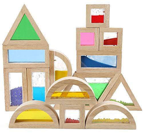 Geometry Sensory Wood Rainbow Stacking Blocks