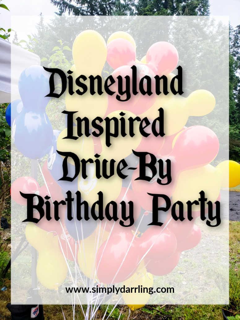 Disneyland Inspired Birthday party text on Mickey Balloons