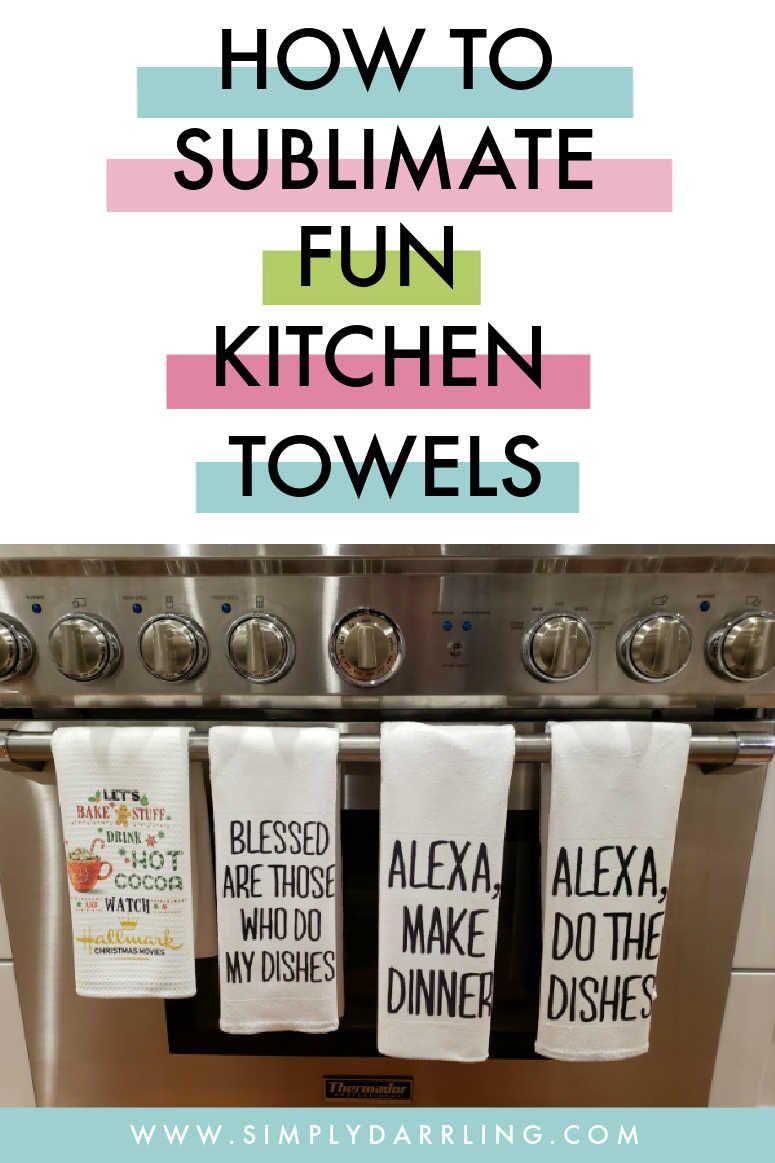 Sublimated Kitchen Towels on Stove